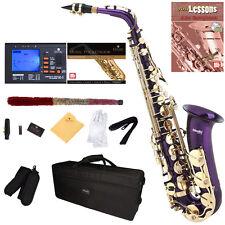 Mendini Purple Lacquered Eb Alto Saxophone Sax +Tuner+CareKit+Case+Book ~MAS-PL