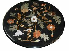 "24""x24"" Marble Black Round Table Top Flower Design Inlay Arts Hallway Room Decor"