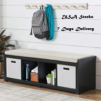 Storage Bench Chest Entryway 4 Cube Organizer Large Folding Bench Ottoman Stand