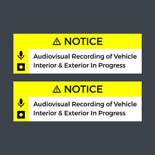 Dashcam Notice AV Recording In Progress Durable Vinyl Sticker Uber Lyft Set of 3