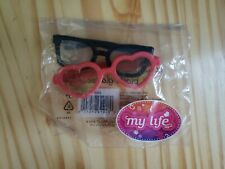"My Life As American Girl Doll Coral Heart Sunglasses and Black Glasses 18"" NEW"