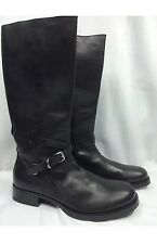 "PRADA BLACK LEATHER 17"" TALL BIKER MOTORCYCLE BOOT ANKLE STRAP BUCKLE 11.5 US 12"