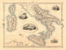 ITALIA meridionale. NAPOLI/IL VESUVIO. Sicilia Sardegna Corsica. Tallis/RAPKIN 1851 Mappa
