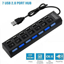 7-Port USB Multi Hub Adapter High Speed w/ On off Switcher for PC Laptop