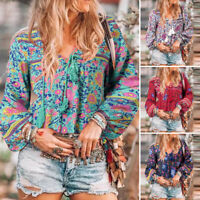 Womens Casual Floral Tops Long Sleeve V Neck Lace Up Oversize Loose Shirt Blouse