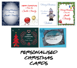 Personalised Christmas Cards Happy Merry Christmas Family - Handmade Card