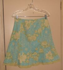Forever 21 Large Blue Yellow Floral Print Cotton Blend Gored Skirt Lace Trim
