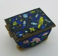 Antique Miniature Chinese Brass Enamel Cloisonne Stamped China Pill Trinket Box