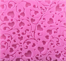 Hearts Scroll Lace Pink Silicone Mold