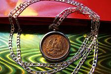 """1945 Eagle Coin Mexico Bronze Coin rare Un Centavos Coin on a 30"""" Silver Chain"""