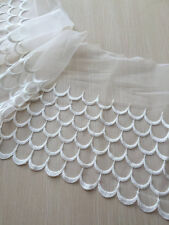 """2 yards Lace Trim Ivory Cotton Wave Embroidered Tulle Lace Fabric 9.44"""" width"""