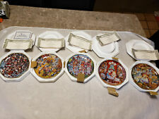 Lot of 5 Bill Bell Franklin Mint Heirloom Collection Cat Plates Holiday Edition.