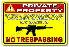 Private Property No Trespassing Gun Owner Pistol Security Sign Crime Deterrent