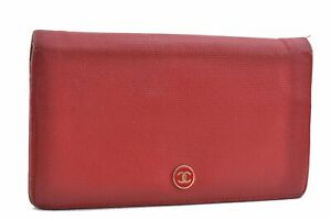 Authentic CHANEL Calf Skin CoCo Button Bifold Long Wallet Red D1459