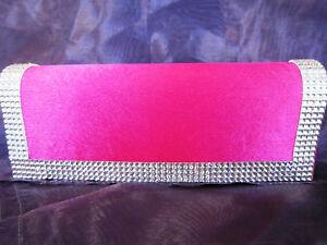 Fuchsia and Silver Crystal Clutch/Shoulder Handbag