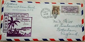 UNITED STATES 1932 SAN DIEGO FIRST FLIGHT COVER + OLYMPIC GAMES PROMO LABELS