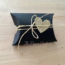 BLACK PILLOW BOXES Matte Cardboard Small Favours Wedding Baby Shower 20 pcs