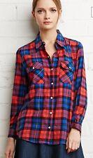 Forever 21 Tartan Check Snap Button Shirt/Top/Tunic - Medium - Royal/Red