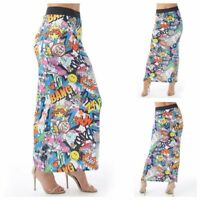 Womens Ladies Stretch Comic Bang Print Pattern Long Tube Gypsy Jersey Maxi Skirt
