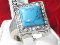 Mens turquoise ring signet blue stainless steel december birthstone cz silver 32