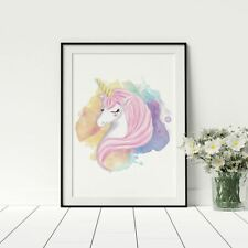 Unicorn Poster Nursery Wall Art Grils Playroom Prints Framed Artwork
