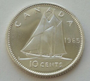 Canada, 10 cents, 1965, Silver 800, BU, #14, Perfect quality