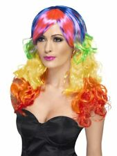 NEW Rainbow Long Curl Wig - Retro Party Fancy Dress Accessories