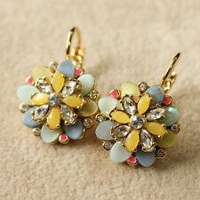 Boucles d'Oreilles Fleur Dormeuse Nacre Doré Multicolore Jaune Bleu Retro BB 1