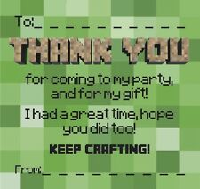Thankyou Cards / Notes (duo) Ideal For Minecraft Fans!