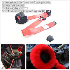 3Pcs Winter Fur Wool Furry Steering Wheel Cover + Safety Seat Belt Red Color