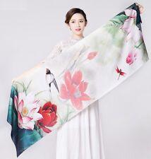 """UScarmen Women's 100% Pure Silk Oblong Scarf 70"""" x 21"""" 08003 Watercolor Lotus"""