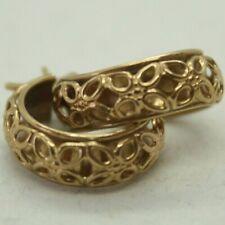 100% Genuine 9k Solid Yellow Gold Filigree Concave Hoop Earrings