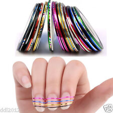 32 Pcs Mixed Colors Rolls Striping Tape Line Nail Art Tips Decoration Sticker GU