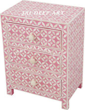 Handmade Antique Bone Inlay Geometric Pink Bedside Table Nightstand 3 Drawer