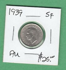 1939 Canadian 5 Cents Coin - George VI - AU