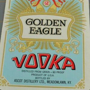 Golden Eagle Vodka Ascot Distillery Meadowlawn KY Vintage Paper Label Ephemera