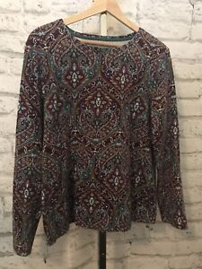 Talbots Knit Top XL 95% Cotton Long Sleeves Knit Top Paisley Multicolor