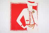 CHANEL Large Format Scarf 100% Silk Coco Chanel Mademoiselle Bijou Red 3691k