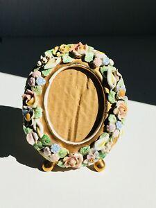 "4.7"" Antique Oval Photo Frame, Porcelain, Capodimonte, Spanish, Floral, Flowers"