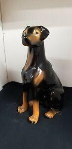 Sitting Dog Doberman Ceramic Figurine Black triangle stamp on base ? Italian
