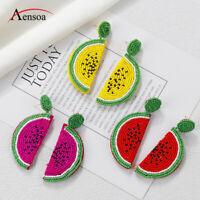 Fashion Summer Watermelon Earring Resin Beads Fruit Women Pendant Drop Earrings
