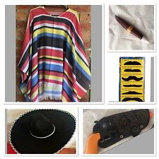 Mexican Poncho Sombrero Hat Cigar Gun Wild West Cow Boy Adult Bandit Costume