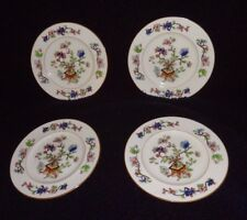 4 Coalport  Hand Painted Flower Pot Salad Plate Smooth brown Trim Rare 7 3/4""