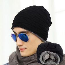 black Men Women Crochet Knit Plicate Baggy Beanie Wool Hat Skull Winter Warm Cap