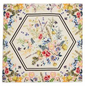 Echo New York scarf 100% Bloomingdales exclusive floral multi flowers tan beige