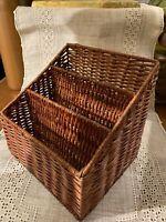 Vintage Mid Century Modern Wicker Basket~Office Organizer Mail Holder Desk Boho