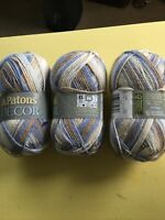 Yarn Patons Decor 75% Acrylic 25%Wool 3.5Oz  208 Yd Medium 4 Sand & Sea 3skeins