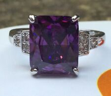 Art Deco Vintage 925 Sterling Silver Amethyst Cocktail Ring / White Sapphire N