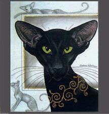 LIMITED EDITION ORIENTAL BLACK EBONY CAT PRINT FROM PAINTING BY SUZANNE LE GOOD