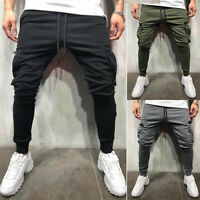 Men Casual Slim Fit Pants Gym Fitness Sportswear Running Jogging Long Trousers